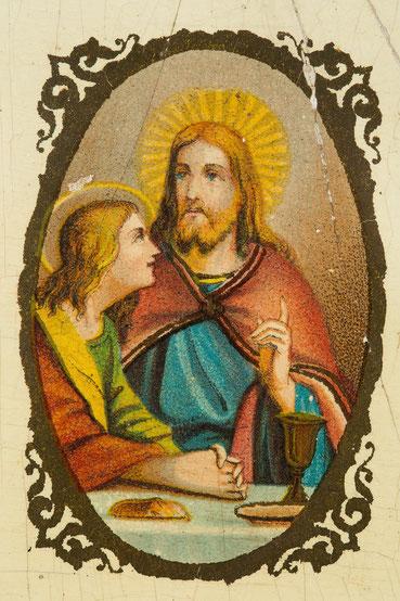 Detail des Uhrenschildes, letztes Abendmal mit Jesus mit Johannes, Umdrucktechnik