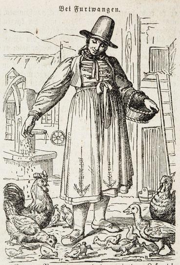 Hausfrau bei Furtwangen, aus badischem Kalender: Hinkender Bote 1857