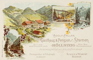 Gasthaus & Pension zum Sternen, Adolf Faller Höllsteig (Schwarzwald), Werbekarte um 1900