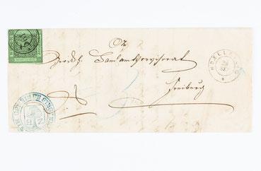 Brief von Höllsteig nach Freiburg, entwertet mit dem Fünfringnummerstempel 61