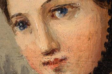 Johann Baptist Laule, Gemäldedetail vom Gesicht der Strohflechtenden Schwarzwälderin