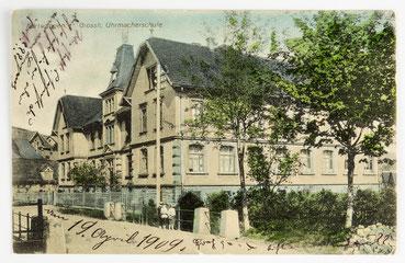 Postkate der Großherzoglichen Uhrmacherschule Furtwangen (gelaufen: 11. Dez. 1909)