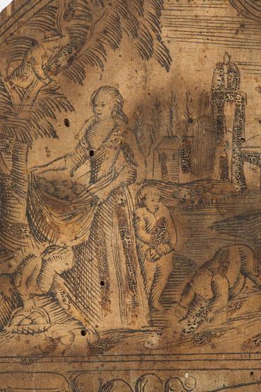 Apfelernte, Detail des Uhrenschildes, Schwarzwälder Schilderuhr um 1800