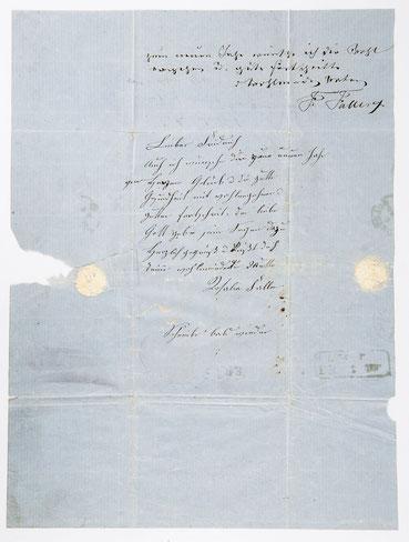 Brief von Fidel und Rosalia Faller an den Sohn Friedrich, Januar 1859
