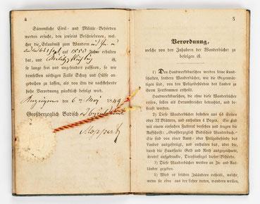 Wanderbuch des Uhrmachergesellen Georg Bilharz von 1849 bis 1851, Kenzingen im Großherzogtum Baden, Seite 4-5