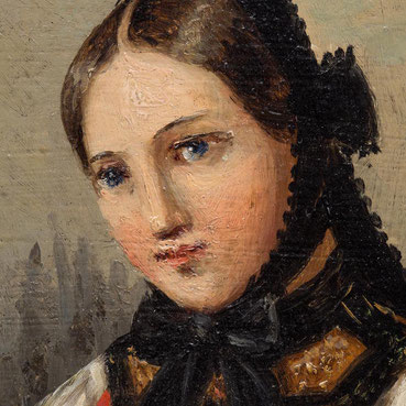 Johann Baptist Laule, Detail der Strochflechtenden junge Frau in schwarzwälder Tracht