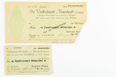 Notgeldscheine der Hausuhrenfabrik Winterhalder K.G. Neustadt, November 1923