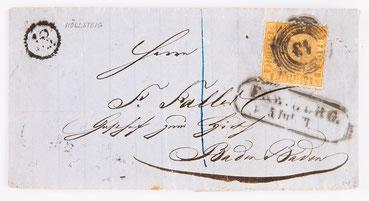 Briefhülle von Fidel Faller in Höllsteig an Friedrich Faller im Gasthof zum Hirsch in Baden Baden, 05.07.1863