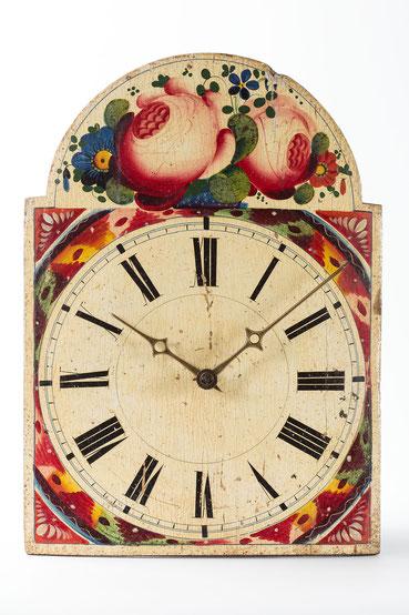 Lackschilduhr von Uhrmacher Fidel Fürderer aus Linach, Schwarzwald um 1860