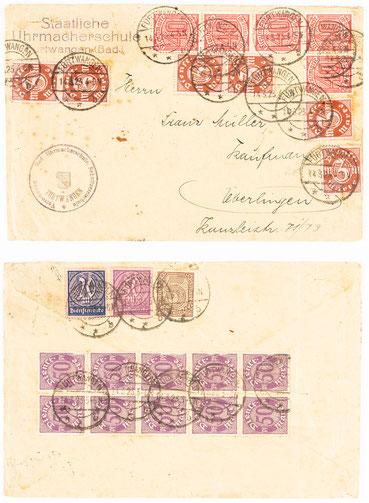 Briefhülle der Staatlichen Uhrmacherschule Furtwangen (Baden) vom 14.03.1923