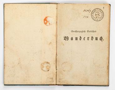 Wanderbuch des Uhrmachergesellen Georg Bilharz von 1849 bis 1851, Kenzingen im Großherzogtum Baden, Vorsatzpapier und Seite 1