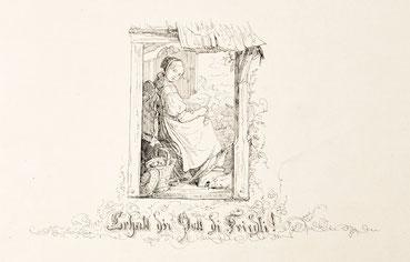Johann Baptist Dilger, schwarzwälder Mädchen Kartoffeln schälend, Tuschezeichnung, Neustadt 1855