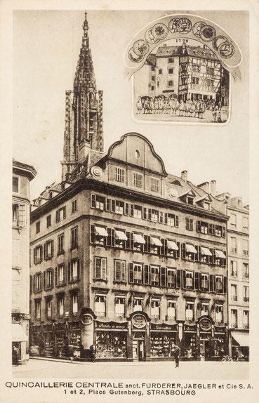 Früheres Geschäftshaus von Fürderer Jaegler & Cie, Gutenbergplatz 1 und 2 in Straßburg, Postkarte um 1920
