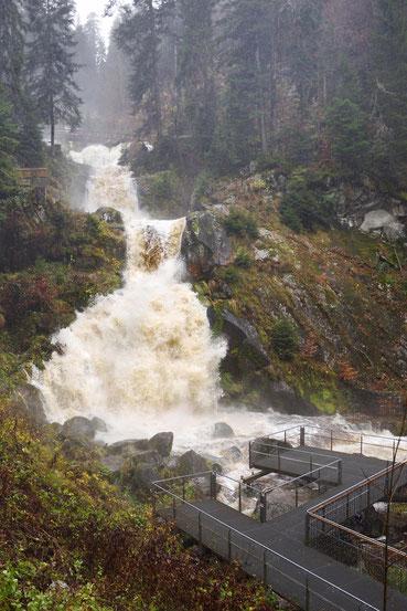 Triberger Wasserfall bei sehr starkem Regen
