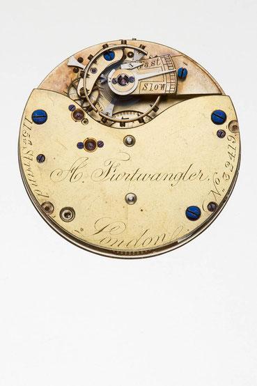 Englisches Taschenuhrwerk mit freiem Spitzzahnankergang, Signatur von A. Furtwangler, London
