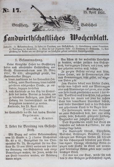 Über das Stroh und dessen Anbau für die Strohflechterei im Schwarzwald, Robert Gerwig (Direktor der Uhrmacherschule Furtwangen)