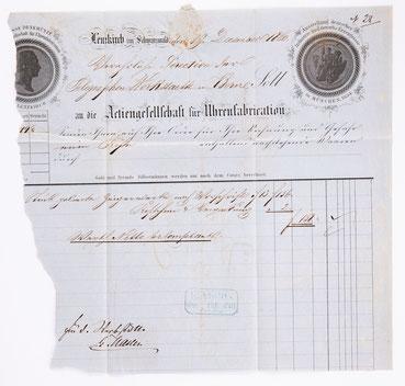 """Geschäftsbrief der """"Aktiengesellschaft für Uhrenfabrikation Lenzkirch"""" 1860"""