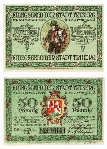 Uhrenträger, Kriegsgeld der Stadt Triberg um 1918