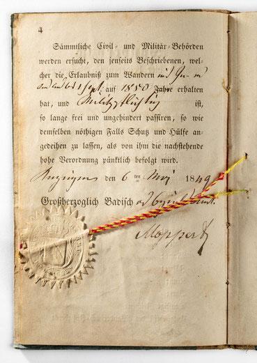 Der Reisepass für das In- und Ausland aus dem Wanderbuch des Uhrmachergesellen Georg Bilharz aus Kenzingen im Großherzogtum Baden