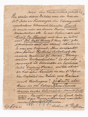 Zeitzeugenbericht auf der Rückseite des Bildes Strohflechterin von Johan Baptist Laule