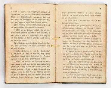 Wanderbuch des Uhrmachergesellen Georg Bilharz von 1849 bis 1851, Kenzingen im Großherzogtum Baden, Seite 8-9