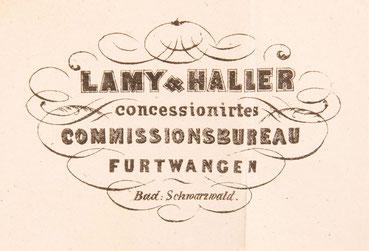 Briefkopf von Lamy & Haller, Furtwangen 1857