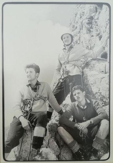 Josef Taucher, Sepp und Walter Nagl (von rechts nach links), Hochschwab Südwand um 1965, Foto © Walter Taucher