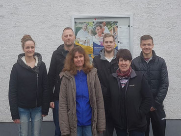 v. l. Janina Necknig (bis April 2017), Jens Fröhlich, Annette Necknig, Jonathan Monix, Irmgard Schröder, Patrick Schwörer; nicht im Bild: Alisha Scholl (ab 2017)