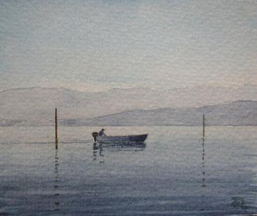 Fischerboot bei Langenargen (Aquarell, 9 x 10,5 cm)