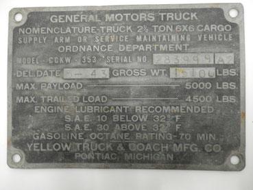 plaque de GMC 1943