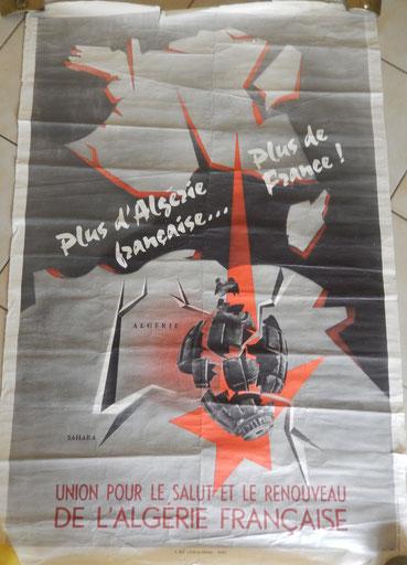 """affiche """" plus d'algérie Française , plus de france """""""