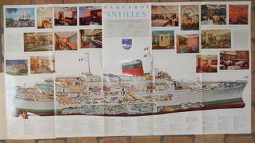 dépliant paquebot Antilles