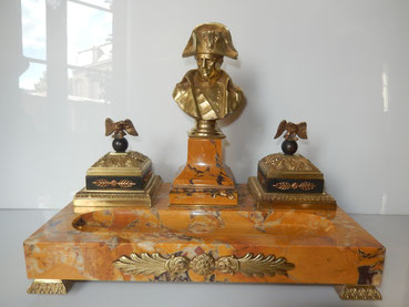 Encrier Napoléon bronze signé pinedo  marbre de Sienne empire militaria