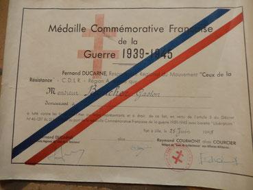médaille commémorative guerre 1939-1945