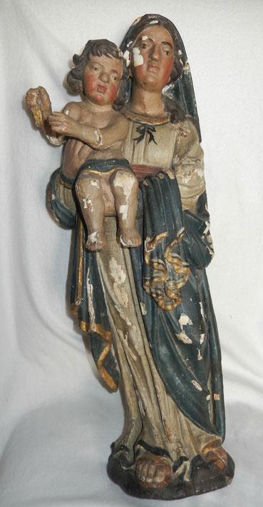 vierge à l'enfant  en bois peint