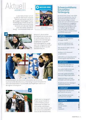 Artikel über unser Projekt in der Mitgliederzeitschrift des WEISSEN RING, Heft 2/2013, S.26