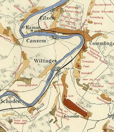 Historische Mosel-Weinbaukarte aus dem Jahre 1906, Saarwein, Mosel Riesling, nahe Trier