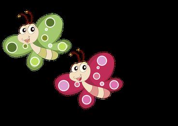 zwei fliegende Schmetterlinge