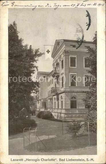 Repro der Aufnahme von 1915, nachdem Bad Liebenstein Lazarettstadt geworden war