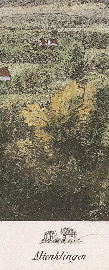 Altenklingen auf der historischen Lithographie vom Napoleonturm aus