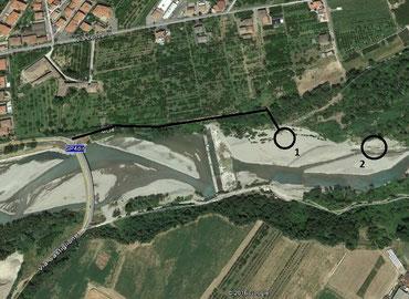 L'area di Marano visitata lungo l'alveo del Panaro e le chiuse