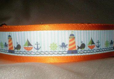 Halsband, Hund, Zugstopp 4cm breit, Gurtband goldorange, Borte See- und Strandmotive