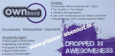 Ownband.de Gelassenheit-to-go POD and POC Silikon Armband Geschenk Pfaelzer Lebenslust Pfalzliebe Blog