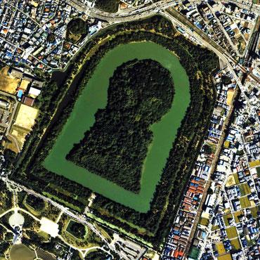 「百舌鳥・古市古墳群」の構成資産のひとつ、大仙陵古墳(仁徳天皇陵)