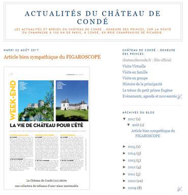 Lien vers les Actualités du Château de Condé en 2014