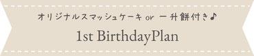オーダースマッシュケーキ・一升餅が付いた1歳のお誕生日限定のプラン