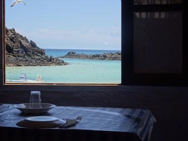 Restaurant mit Lagunen-Aussicht auf Los Lobos