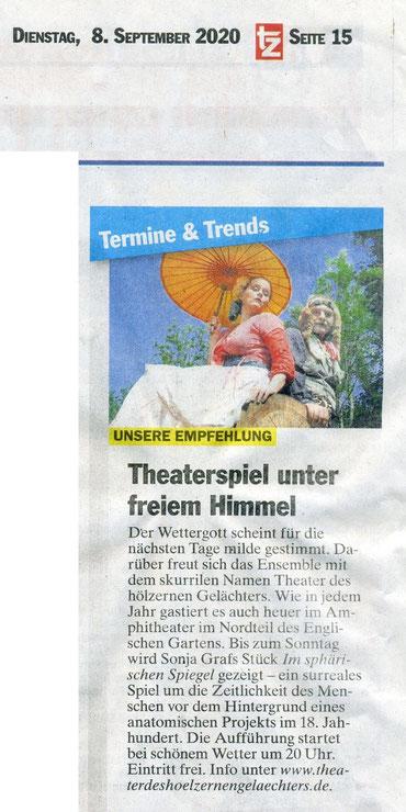 """""""Im sphärischen Spiegel"""", TZ, 08.09.2020"""