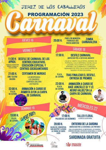 Programa del Carnaval de Jerez de los Caballeros