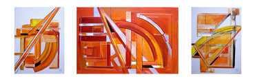 Architektur,Acryl auf Leinwand, 3 teilig,Mitte 40x60 cm, rechts und links 40x30 cm